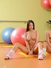 3 Gorgeous Goddesses doing aerobics