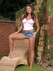 Zafira Enjoys A Big Red Dildo Outdoors
